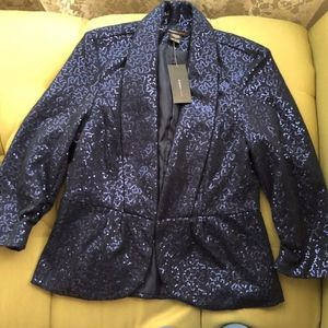 New Sequin Navy Jacket with Tuxedo Collar NWT